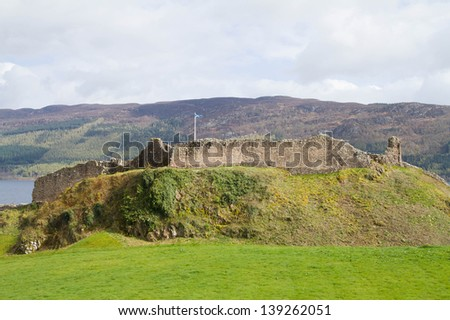 Landscape Ruins of Urquhart Castle at Loch Ness Inverness Highlands, Scotland UK - stock photo