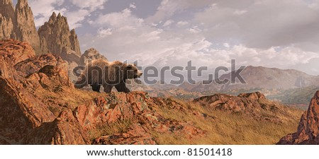Landscape scene with grizzly bear descending down rocky mountain side. - stock photo