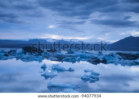 Landscape scenery with a ice, Jokulsarlon, Iceland - stock photo