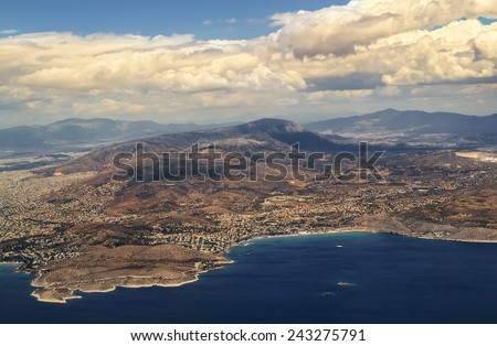 Landscape sea and islands with altitude, Greece, Aegean Sea - stock photo