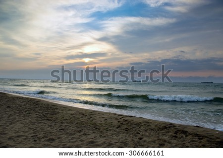 landscape sea sunrice golden sky - stock photo