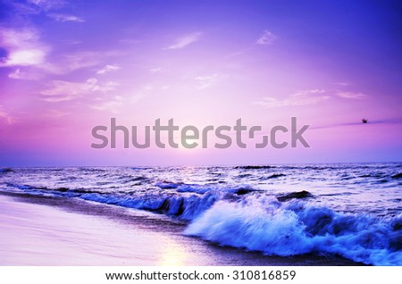 landscape sea sunrice golden sky - stock photo