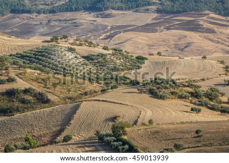 Landscape seen around the archaeological site of Morgantina, Sicily island, Italy