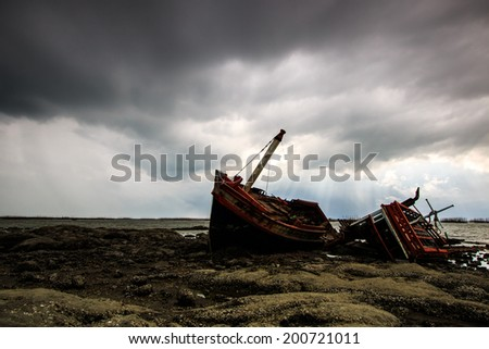 Landscape shipwreck - fishing boat asia Thailand