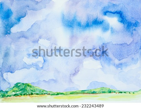 landscape & sky background 'watercolor on paper - stock photo