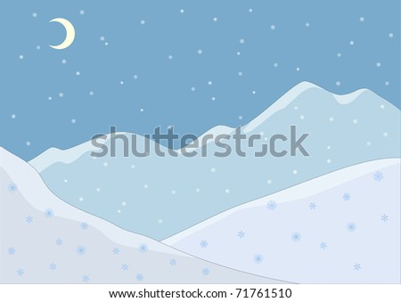 Landscape. Snow-covered mountains and falling snow. Night