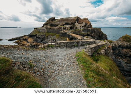 Landscape stronghold at the coast of  crozon, brittany in france, Le fort des Capucins - stock photo