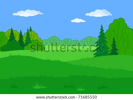 Landscape: summer green forest glade and blue sky, beautiful background - stock photo