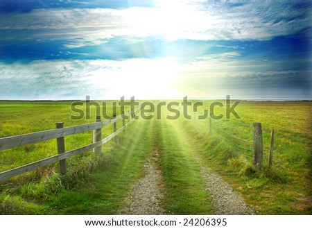 Landscape, sun and the sea in background - stock photo