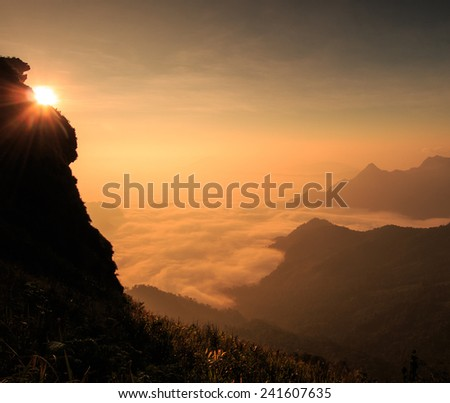Landscape sunrise in nature at Phu chi fa in Chiang rai,Thailand - stock photo