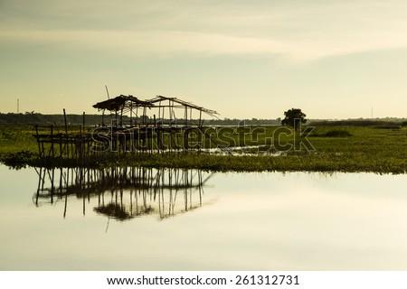 Landscape sunset at the lake - stock photo