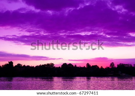 Landscape Sunset Summer - stock photo