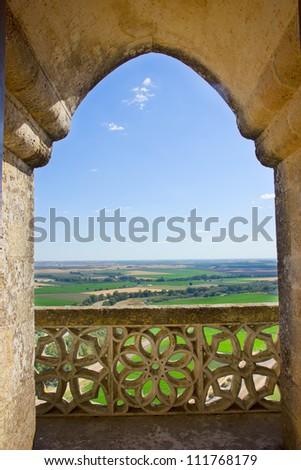 landscape through castle gothic window, Almodowar del Rio, Spain - stock photo