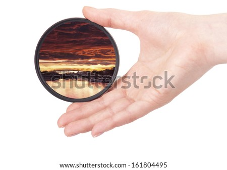 landscape throw camera filter isolated on a white background - stock photo