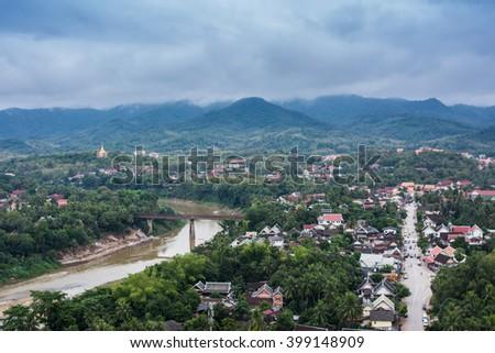 Landscape : Top view of Luang Prabang, Laos  - stock photo