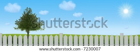 Landscape  tree on the field under blue sky behind fence