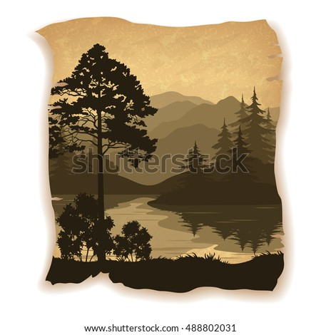 Landscape, Trees, River and Mountains Silhouettes on Vintage Background of an Old Sheet of Paper