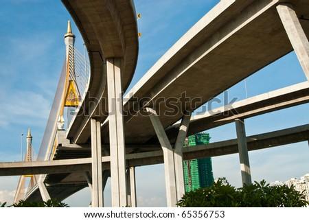 Landscape under express way, Thailand. - stock photo