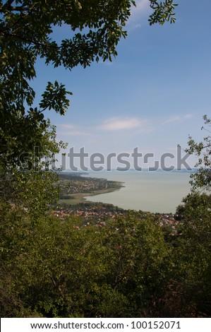 Landscape view at Badacsony, lake Balaton, Hungary - stock photo