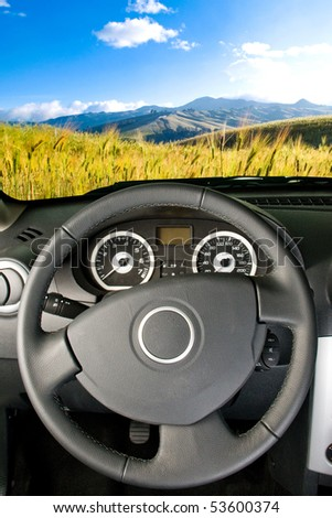 Landscape view from a car interior - stock photo