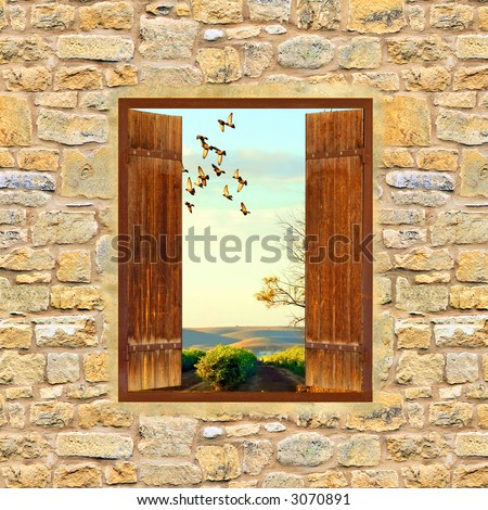 landscape view from a window - stock photo