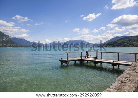 Landscape view from french lake Annecy in Houte Savoie in Alps - stock photo