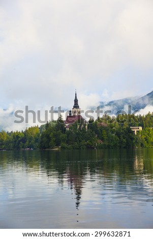landscape view from lake Bled  - stock photo