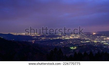 Landscape view from the Yabitsu pass at dusk in Kanagawa, Japan