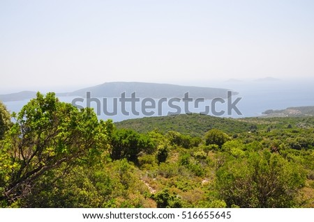 Landscape view in Alonissos island with an ocen and Paristera island