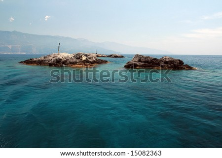 landscape view of a couple of islands - stock photo