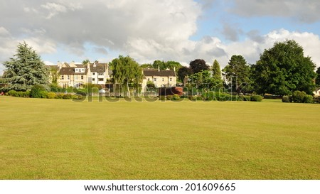 Landscape View of a Field in a Green Park - stock photo
