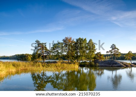 Landscape view of a lake and trees in Sweden