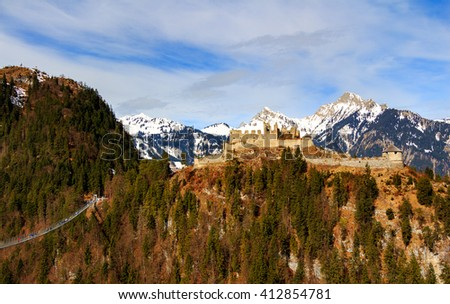 Landscape view of Alps with Highline 179 bridge and Ehrenberg Ruins. Reutte, Tyrol, Austria.