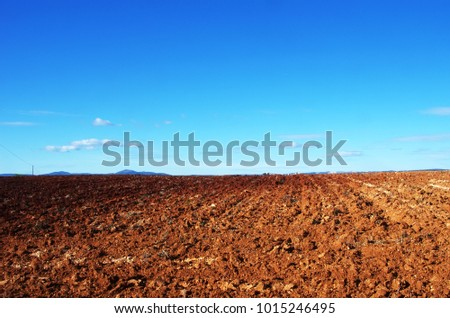 Landscape view of arable land, plowed soil against blue sky, Portugal