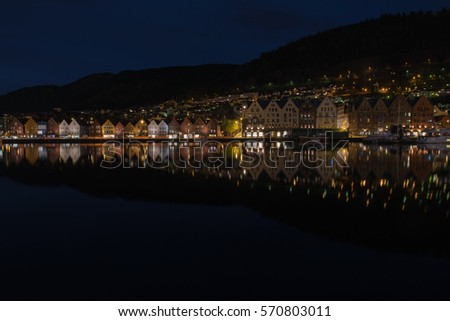 Landscape view of Bergen City, Norway  at night time.