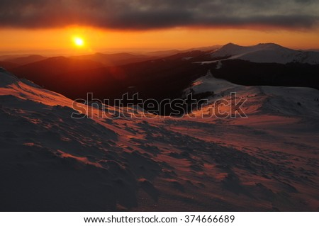 landscape view of Bieszczady mountain during the winter time - stock photo