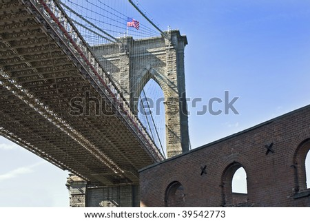 landscape view of brooklyn bridge tower and flag