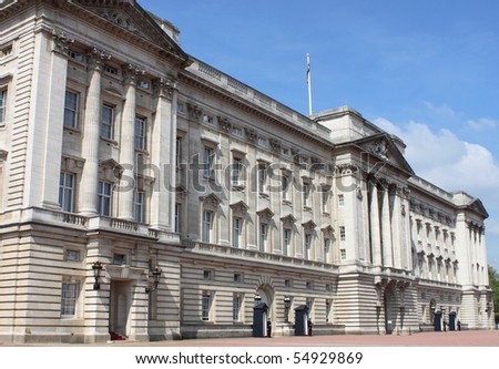 Landscape view of Buckingham Palace in London, UK - stock photo