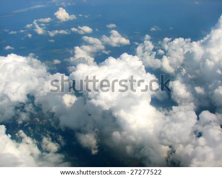 landscape view of clouds and horizon - stock photo