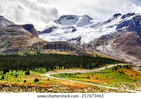Landscape view of Columbia glacier in Jasper NP, Rocky Mountains, Canada - stock photo
