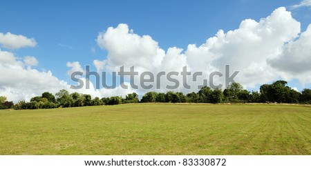 Landscape View of Farmland in Wiltshire England - stock photo