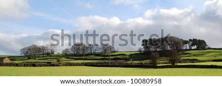 Landscape view of farmland in Yorkshire Dales - stock photo