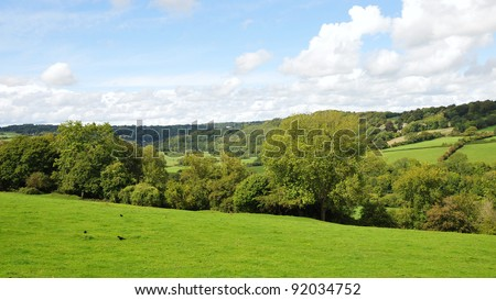Landscape View of Fields in the Avon Valley on the Wiltshire Somerset Border near Bath in England - stock photo