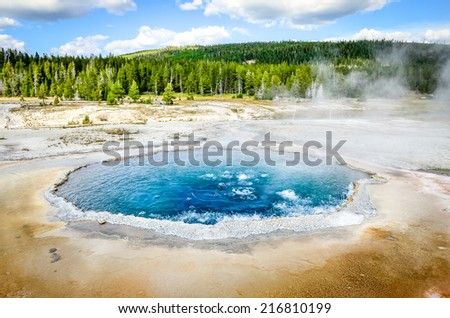 Landscape view of geothermal Crested pool in Yellowstone NP, Wyoming, USA - stock photo