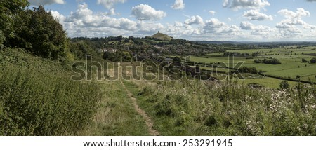 Landscape view of Glastonbury Tor on Summer day - stock photo