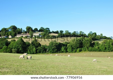 Landscape View of Green Fields in the Avon Valley in Somerset England - stock photo