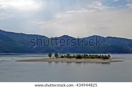 Landscape view of Kardzhali Reservoir. It is the second largest reservoir by volume in Bulgaria. - stock photo