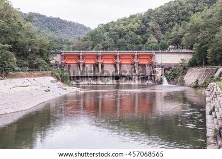 Landscape view of Kio Lom dam, Thailand - stock photo