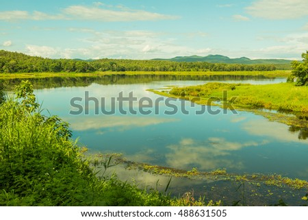 Landscape View of Mae Puem Reservoir, Thailand