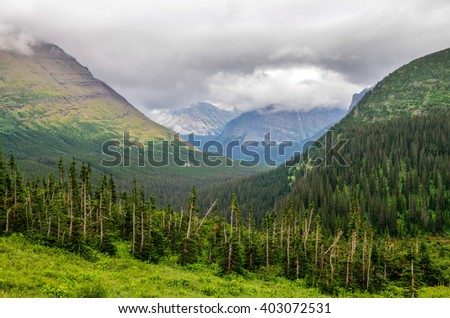 Landscape view of mountains and forests in Glacier NP, Montana, USA - stock photo